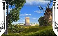 写真撮影のためのHDグリーンモンスターの背景古代風車の田園風景漫画映画パーティーの背景7x5ftZYMT0944