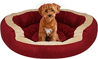 Mellifluous Small Size Cat and Dog Dual Color Pet Bed, Red-Cream