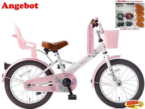 Plezier Mädchen Hollandrad 16 Zoll Little Miss Weiß mit Gratis LED-Set