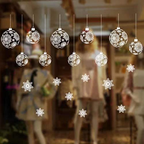Schneeflocken Glitzer Fensterbild,Abnehmbare Fensterdeko Statisch Haftende PVC Aufkleber,Weihnachten Fenstersticker