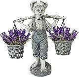 KMDB Estatuas De Jardín, Niña Llevando Un Cubo De Flores, Artesanías De Resina 3D, Adornos, Decoraciones De Arte, Decoraciones del Patio del Césped