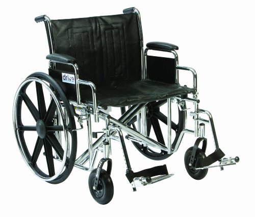 Drive DeVilbiss Healthcare Sentra EC Bariatric / Heavy Duty Chrome Self-Propelled Wheelchair (20' Seat Width)