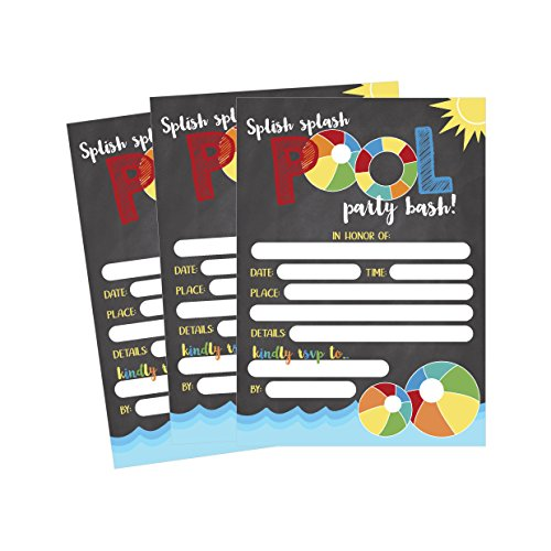 50 Gray Summer Swim Pool Party Invitations for Children, Kids, Teens & Adults, Summertime Birthday Celebration Invitation Cards, Boys & Girls Pool Party Supplies, Family BBQ Cookout Fill In Invites
