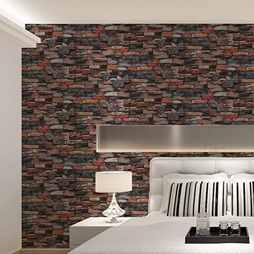 KKJLXX Rouge, Gris Vintage Rustic Brique Pierre Papier Peint Rouleau Salon Chambre Restaurant Fond Loft 3D Papier Mur (Color : WP63100, Dimensions : 10mx53cm)
