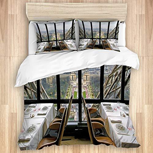 WINCAN Bedding Juego de Funda de Edredón,El Restaurante de la Torre Eifel París Francia,Microfibra Funda de Nórdico y Fundas de Almohada-(Cama 240 x 260cm)