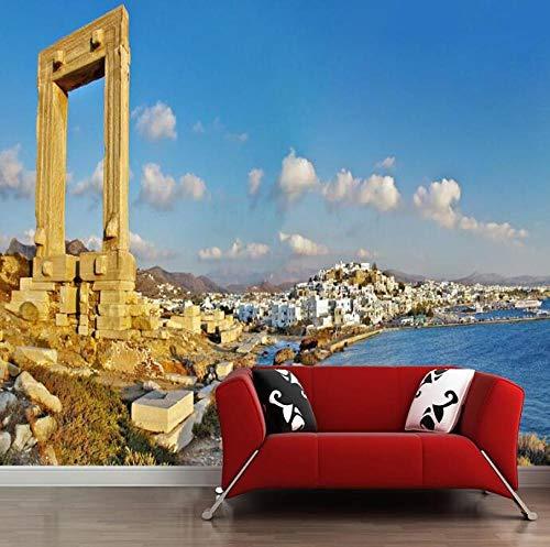 3D vliesbehang plantenvezel Europese nostalgie seaview schilderij met oude gebouwen achter tv-bank als achtergrond in de woonkamer 430*300 430 x 300.