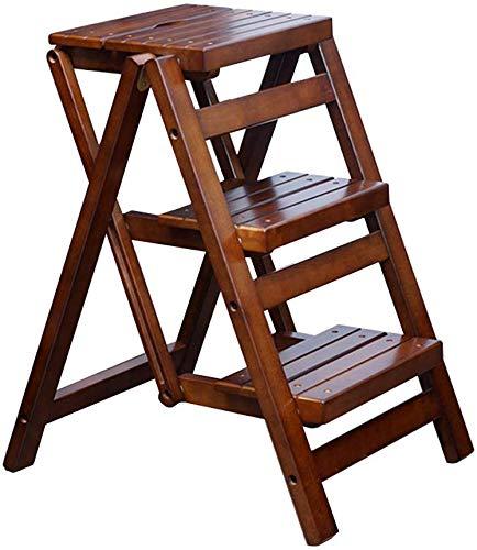 DSJMUY Klappbarer Tritt 3-Stufen-Stehleiter-Leiter-Stuhl, tragbarer hölzerner Haushalts-Treppen-Stuhl erweiterter hoher Schemel für Kinder u. Erwachsene, häusliches Garten-Werkzeug 150 kg