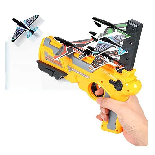 GHGNFG Flugzeugspielzeug Segelflugzeug, Kinder Styroporflieger, Flugzeuge Styropor, Katapult Flugzeug, Werfen Fliegen Modell, Outdoor-Sports Flugzeug Spielzeug (Yellow(1x Sender+4x Flugzeuge))