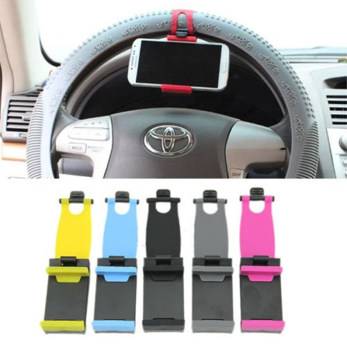 Lollipop Universal Car Steering Wheel/Bicycle Handlebar Clip Mount Holder Stand Cradle for Apple iPhone 6 Plus 5 5S 4S iPod touch Samsung Galaxy S5 S4 Note 4 Cell Phone,PDA, MP4, GPS, PAD Red