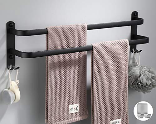 Badezimmer Handtuchhalter Handtuchhalter schwarz matt Handtuchstange mit Zwei Handtuchhaltern und Haken-Design,handtuchhalter ohne Bohren+1 Selbstklebend Handtuchhaken