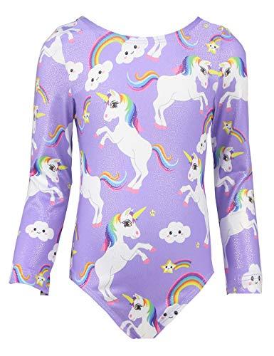 Midout Kids 3/4 Long Sleeve Unicorn Gymnastics Leotards One-Piece Athletic Dance Bodysuit Outfit Girls Swimsuit Purple 5t 6t