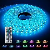 LED Strip, LED Streifen, infinitoo led band 5M 5050 RGB 300er LEDs mit Fernbedienung 44 Tasten, Mehrfarbige Bänder für beleuchtung, unter Schrank, Terrasse, Balkon, Party und Haus Deko