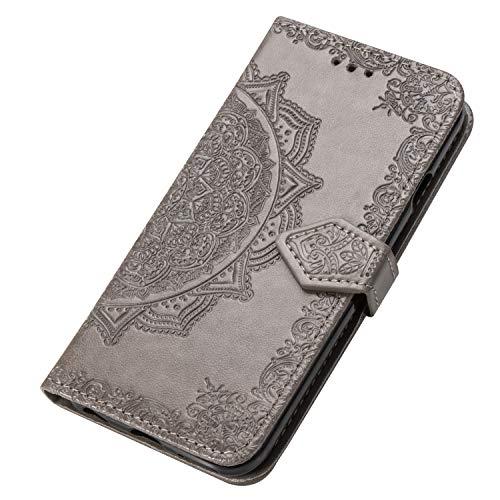GOGME Cover per Huawei Mate 40 PRO Plus Cover, Custodia Chiusura Magnetica Flip Case Stile, Pelle PU Mandala Sbalzato con Supporto di Stand/Carte Slot. Grigio