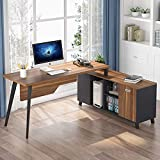 LITTLE TREE Large L-Shaped Desk, Executive Office Desk Computer Table...
