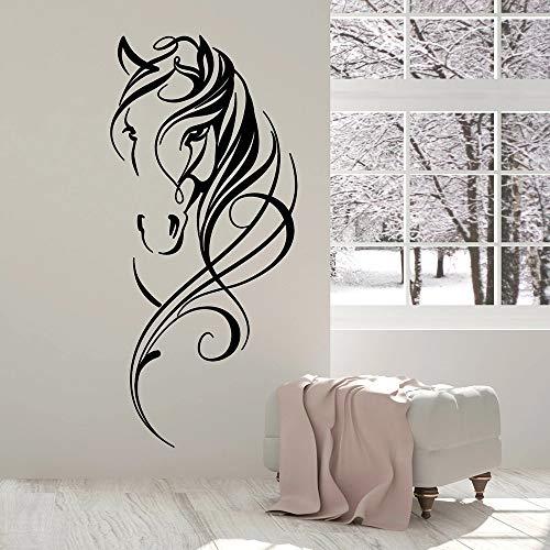 WERWN Hermoso Caballo Cabeza Pared Animal Arte decoración Oficina Vinilo Pared Pegatinas Sala de Estar decoración China