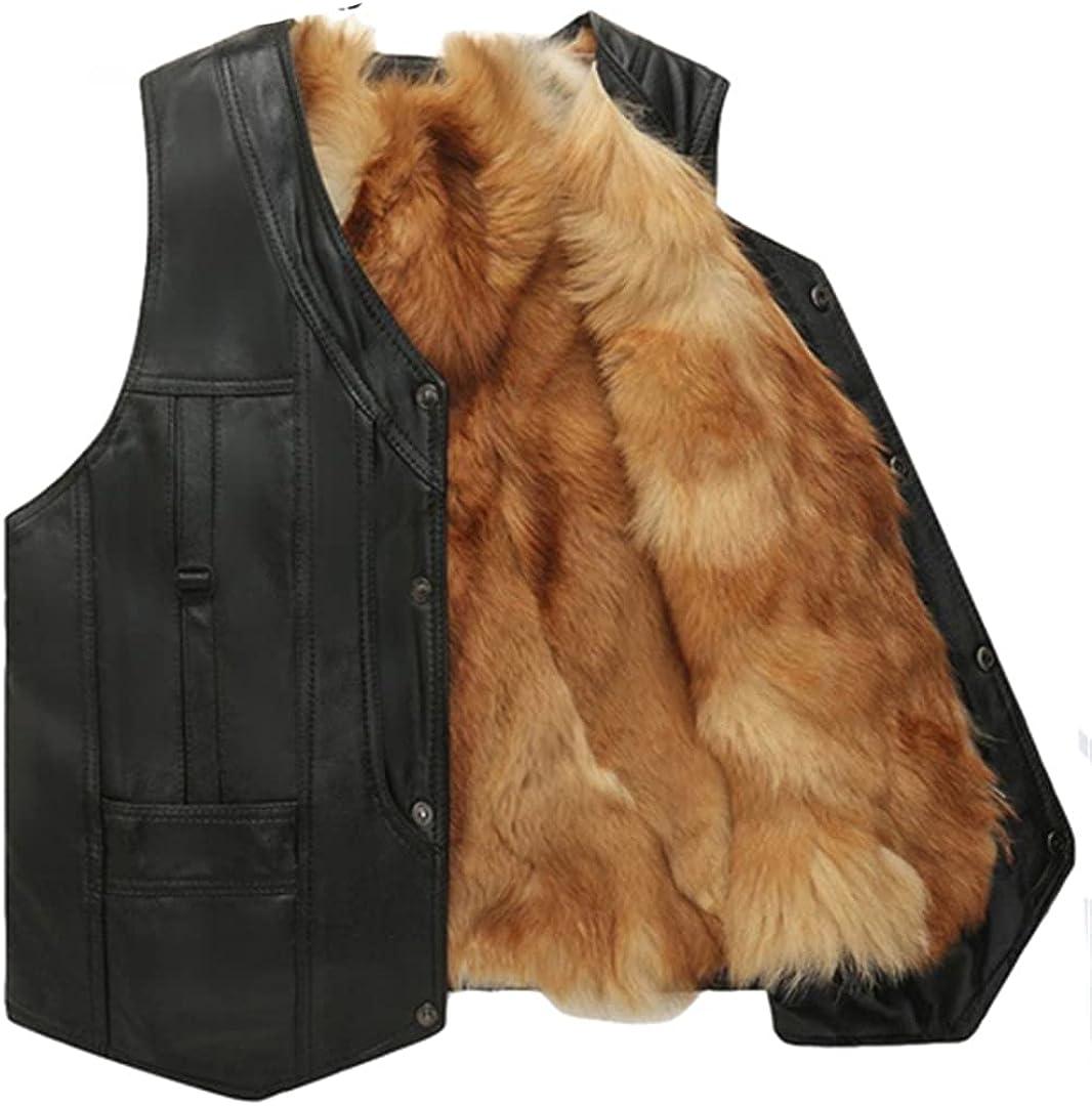 Men Winter Vest Fox Leather Vest Fur Jacket And Coat Warm Vest