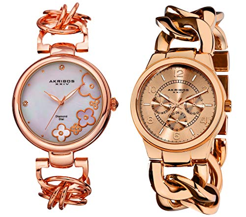 Akribos Xxiv dorato rosa orologio da donna set AK677RG