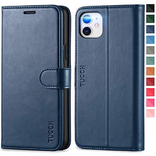 TUCCH iPhone 11 Hülle, RFID Schutzhülle [Schützt vor Stößen] [Magnetverschluss] [Kartenfach] [Verdicktes TPU] [Premium Leder], Klappbare Handyhülle Lederhülle Kompatibel für iPhone 11 (6,1) Dunkelblau