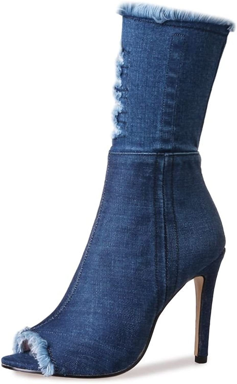 SaraIris Denim Boots Torn Holes Stilettoe Heels Peep-top for Women