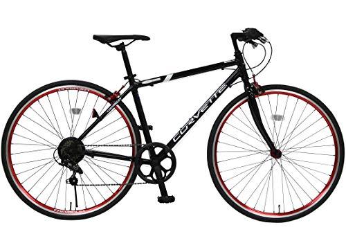 CHEVROLET(シボレー) CORVETTE(コルベット) AL-CRB7006 ブラック 700c クロスバイク 軽量アルミフレーム シマノ6段変速 鮮やか前後アルマイト塗装リム 前輪クイックレリーズ シボレーコルベットWネームスタイリッシュクロス 84103-0199