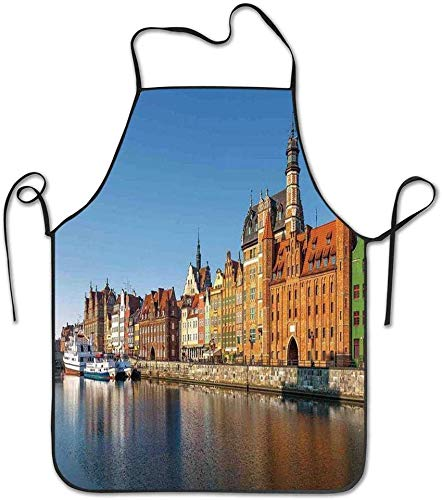 Pag Crane Stadtbild Blick auf den Fluss in die Altstadt Schürze für Küche Grill Kochen Chef Kellnerin großes Geschenk für Frau Damen Männer Freund