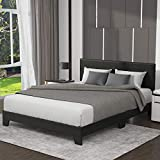 Allewie Queen Size Upholstered Platform Bed Frame with Headboard and Wooden Slats, Faux Leather Mattress Foundation/Strong Wooden Slats Support/Box Spring Optional/Easy Assembly, Black