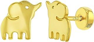 925 Sterling Silver Elephant Prosperity Good Luck Safety Stud Girls Earrings