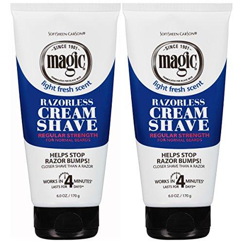 Softsheen-Carson Magic Razorless Shaving Cream for Men, Hair Removal Cream, Regular Strength for Normal Beards, No Razor Needed, Depilatory Cream Works in 4 Minutes, 2 Count