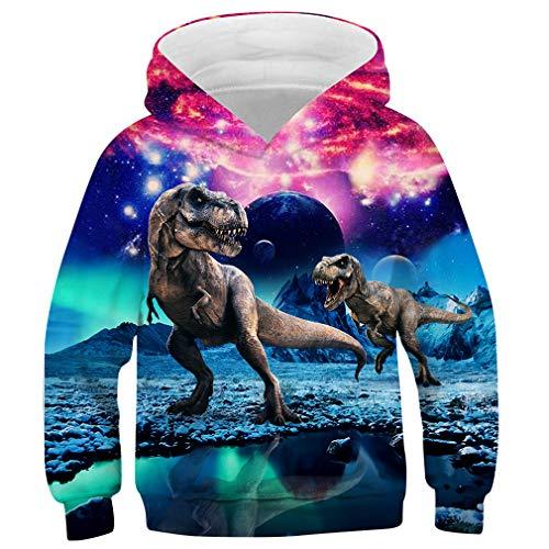 Idgreatim Jugend Hoodies Pullover Neuheit 3D Löwe Mit Kapuze Pullover Damen Taschen Sweatshirts M