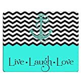 Nicokee Love Gaming Mousepad Hipster Quotes Live Love Laugh in Turquoise Chevron with Anchor Mouse Pad Mouse Mat for Computer Desk Laptop Office 9.5 X 7.9 Inch Non-Slip Rubber