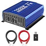 Kinverch 1500W Pure Sine Wave Power Inverter 12V DC to 110V AC Car Inverter with Bluetooth and 2AC Outlets &USB Port for Truck /RV /Home