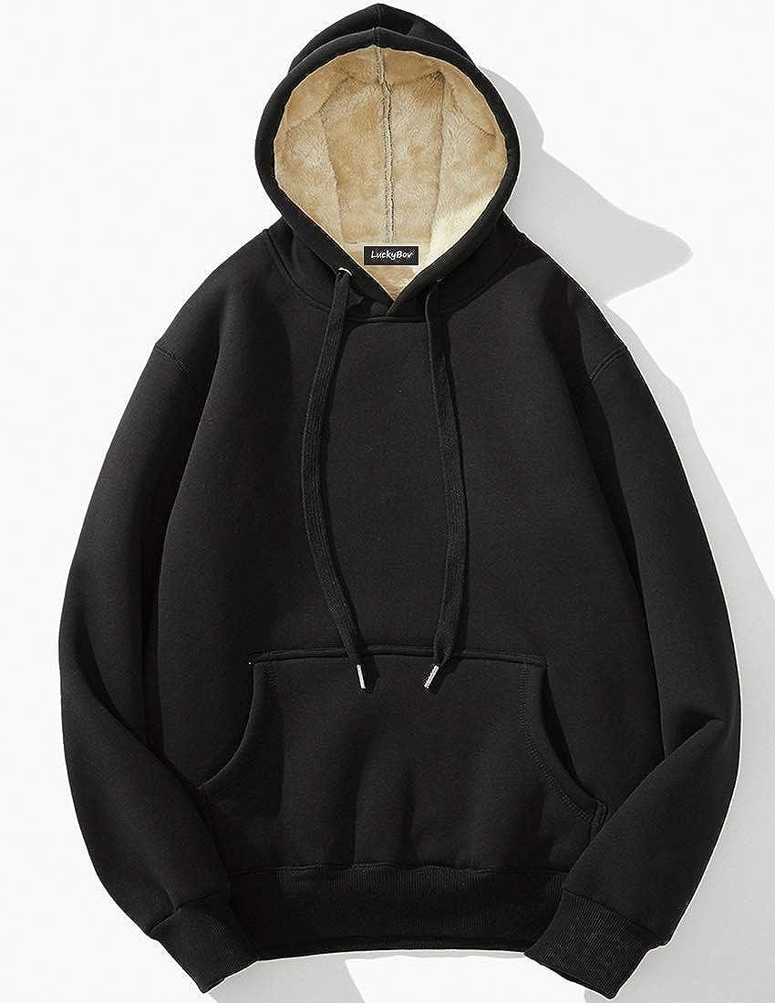 LuckyBov Men Cotton Hooded Jacket Kangaroo Fleece Liner Winter Outwear Coat Thick