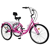 DoCred Adult Tricycles, 3 Wheel Bikes for Adults 24 inch /26 inch 7 Speed Adult Trikes Bicycles Cruise Trike with Shopping Basket for Seniors, Women, Men