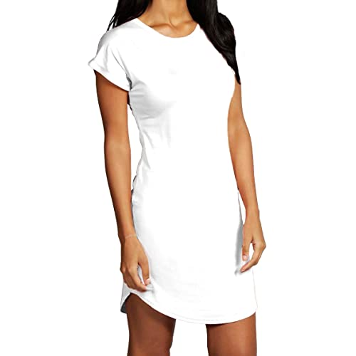 e1cdf2b59ba7 Re Tech UK Womens Ladies Hip Length Curved Hem Roll Turn Up Sleeve T-Shirt