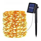 OxyLED Guirnalda Luces Exterior Solar, 30 M 300 LED Guirnalda de luces solares 8 Modos Impermeable IP44 Cadena de Luces Decoracion para Terraza, Fiestas, Bodas, Jardines, Festivales (Blanco Cálido)