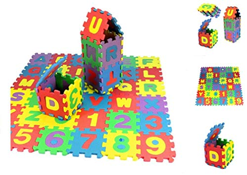 Baby Floor Tiles Mat, 36PCS Baby Play Mat Floor Mat Foam Puzzle Playmat Alphabet and Numbers Floor Puzzle Colorful EVA Tiles for Kids, Toddlers and Infants【US Fast Shipment】 (1212cm/PCS)