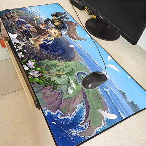 Alfombrillas de ratón Grandes Anime Made in Abyss Alfombrillas Escritorio Teclado Juego Dibujos Animados Borde Bloqueo Jugadores Alfombrillas 600X300X3mm