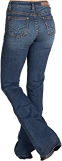Rock N Roll Cowgirl Womens Ladies High Rise Flare Jeans with Yoke Detail 26 34 Medium Wash