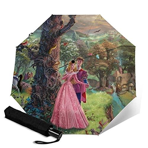 Taschenschirme Sleeping Beauty Automatischer, tragbarer dreifach faltbarer Regenschirm, kompakt und tragbar, faltbar, winddicht, wasserdicht, Anti-UV-Regenschirme
