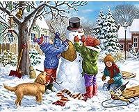 SHanguoY大人と子供のための500ピースの木製パズル、冬の風景クリスマススノーハウス、クリスマスの雪だるま家族のゲーム、子供の誕生日プレゼント、ハロウィーンの贈り物、クリスマスのサプライズギフト、アートパズル、家の壁の装飾