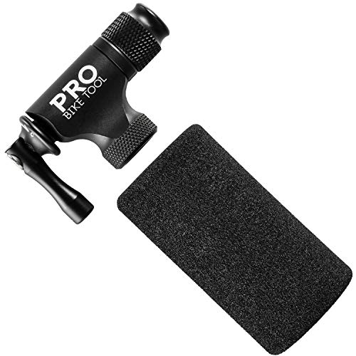 PRO BIKE TOOL CO2 Inflator - Quick & Easy - Presta and Schrader Valve Compatible - Bicycle Tire Pump for Road and Mountain Bikes - Insulated Sleeve - No CO2 Cartridges Included (Matte Black)