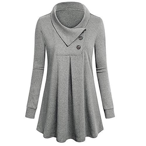 URIBAKY - Sudadera de manga larga para mujer con botón de espalda gris XXL