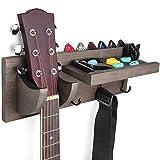 Bikoney Guitar Holder Wall Mount Bracket Hanger Guitar Wood Hanging Rack with Pick Holder and 3 Hook Weathered Grey