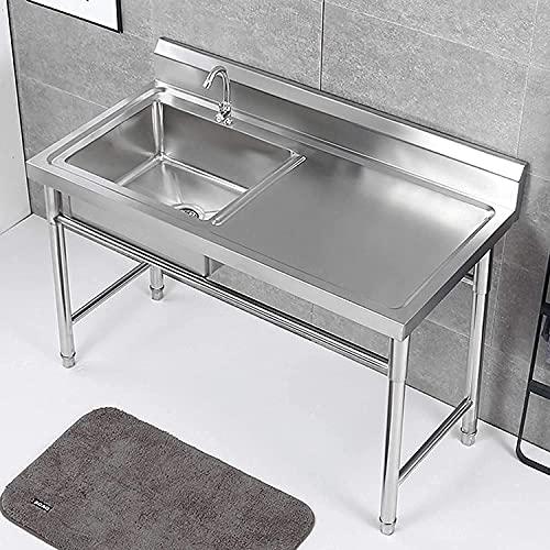 Fregaderos comerciales, Puede mover el fregadero de cocina comercial de acero inoxidable, con el grifo de rotación de 360 grados, el lavamanos de la utilidad independiente con la plataforma