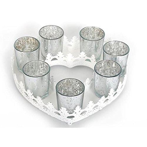 26cm Herz Set Tablett Schale Bauernsilber Teelicht shabby chic Landhaus weiß