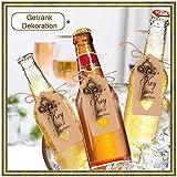 Minterest 50 Stück Gastgeschenke Hochzeit, Vintage Bronze Schlüssel Flaschenöffner, Durchsichtige Tasche, Geschenkanhänger aus Braunem Kraftpapier, Bindfäden aus Natürlicher Jute - 3