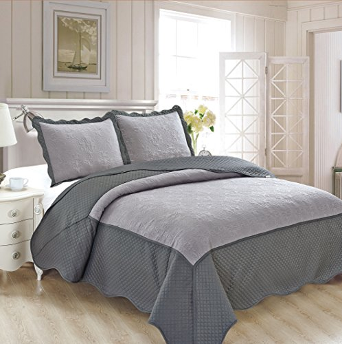 Read About Fancy Collection 3pc Luxury Bedspread Coverlet Embossed Bed Cover Solid New Over Size #Ve...