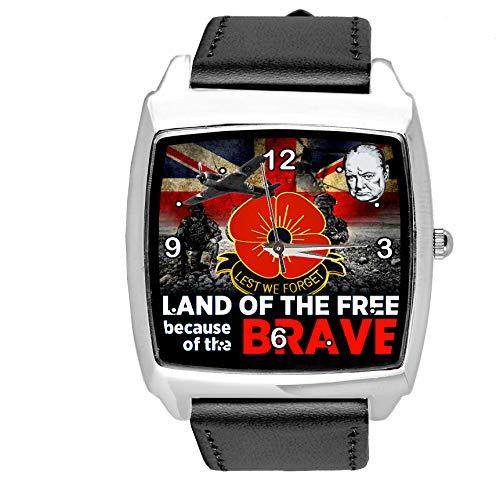Reloj cuadrado de cuero negro para los fanáticos de los soldados británicos