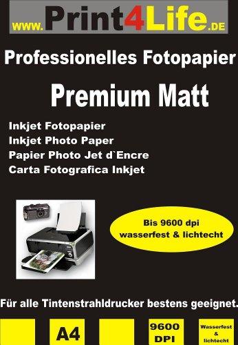 50 Blatt DIN A4 115g /m² Premium MATT Fotopapier matt - sofort trocken - wasserfest - hochweiß - sehr hohe Farbbrillianz für Tintenstrahldrucker Flyerpapier Broschüren Vorlagen