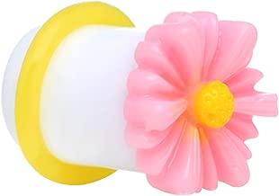 Body Candy 00 Gauge White Acrylic Pink Daisy Flower Single Flare Ear Gauge Plug (1 Piece)